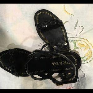 Prada Black Sandal with beautiful Patten Leather